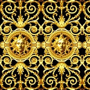 2 filigree baroque rococo black gold flowers floral leaves leaf ivy vines acanthus Victorian medusa inspired gorgons Greek Greece Versace inspired