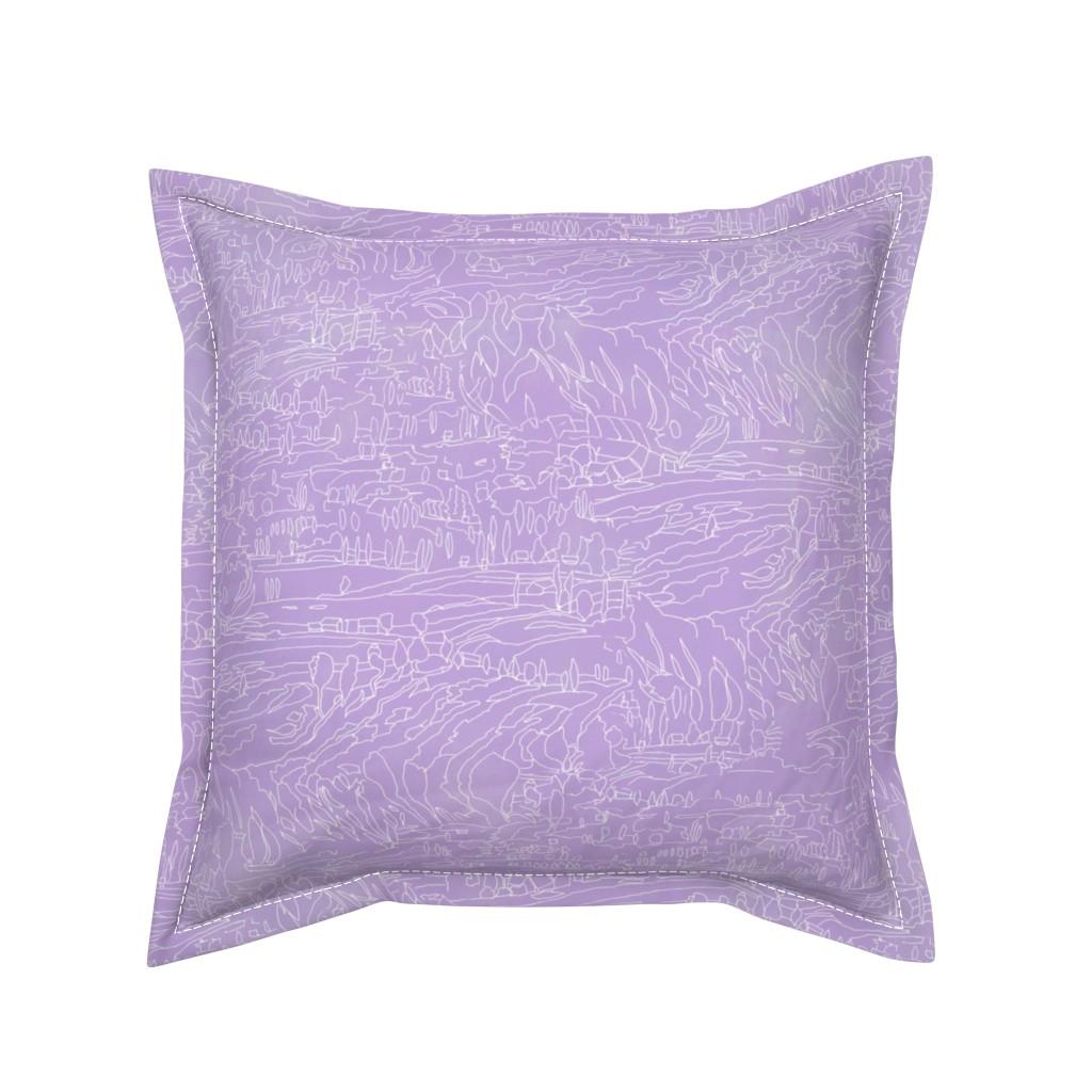 Serama Throw Pillow featuring Lavender Landscape by dorothyfaganartist