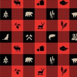 Wilderness  Animal, Buffalo Check,  RED