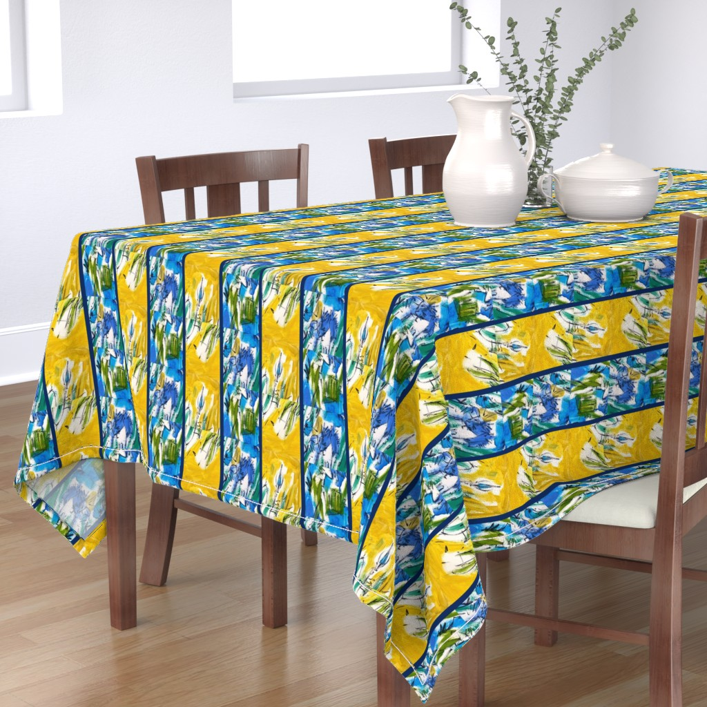 Bantam Rectangular Tablecloth featuring Pale Aqua with Cobalt Blue Landscape by dorothyfaganartist