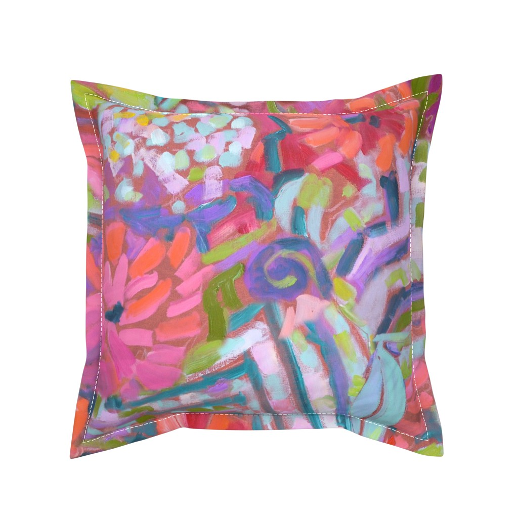 Serama Throw Pillow featuring Zinnia Hydrangea Large Repeat by dorothyfaganartist