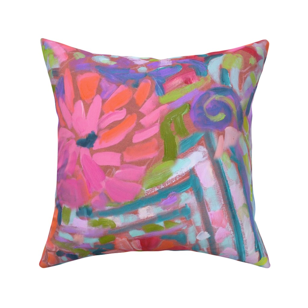 Catalan Throw Pillow featuring Zinnia Hydrangea Large Repeat by dorothyfaganartist