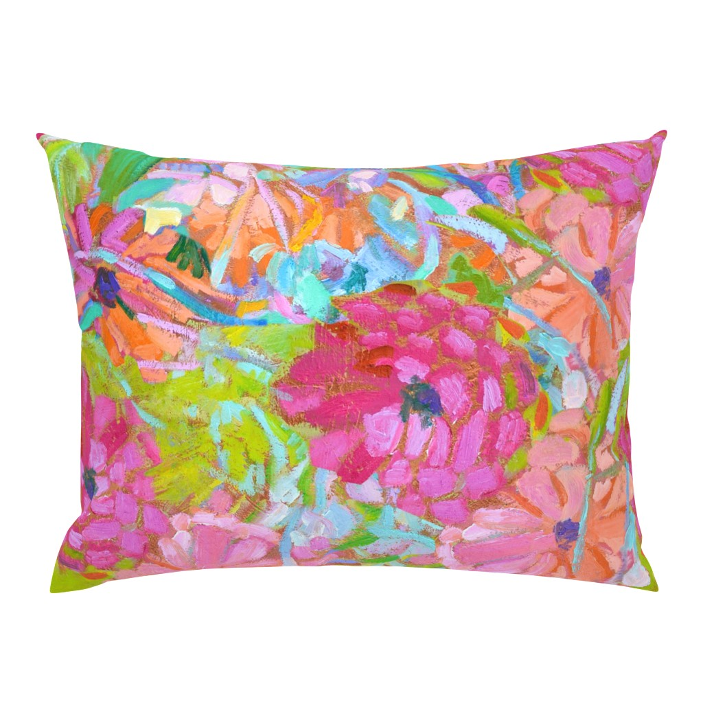 Campine Pillow Sham featuring Red Coral Pink Zinnias Large Repeat by dorothyfaganartist