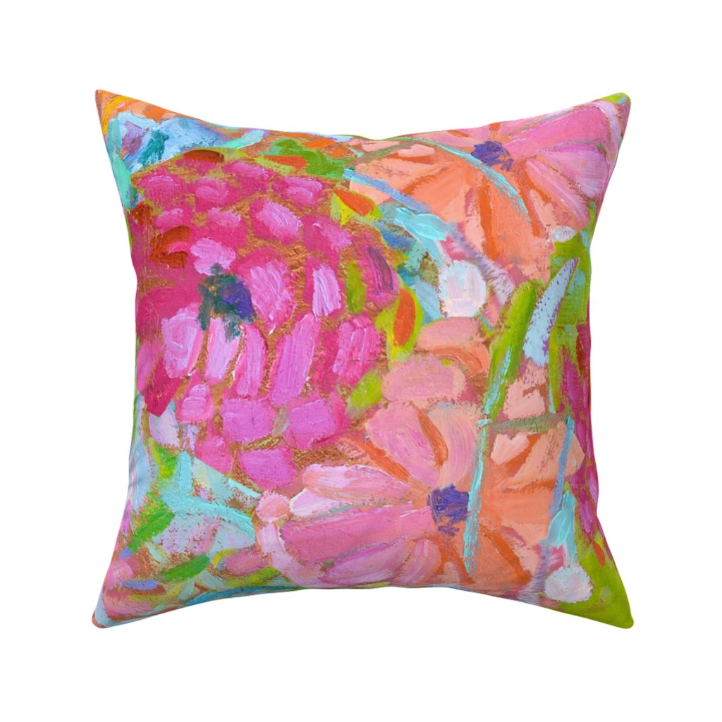 Catalan Throw Pillow featuring Red Coral Pink Zinnias Large Repeat by dorothyfaganartist