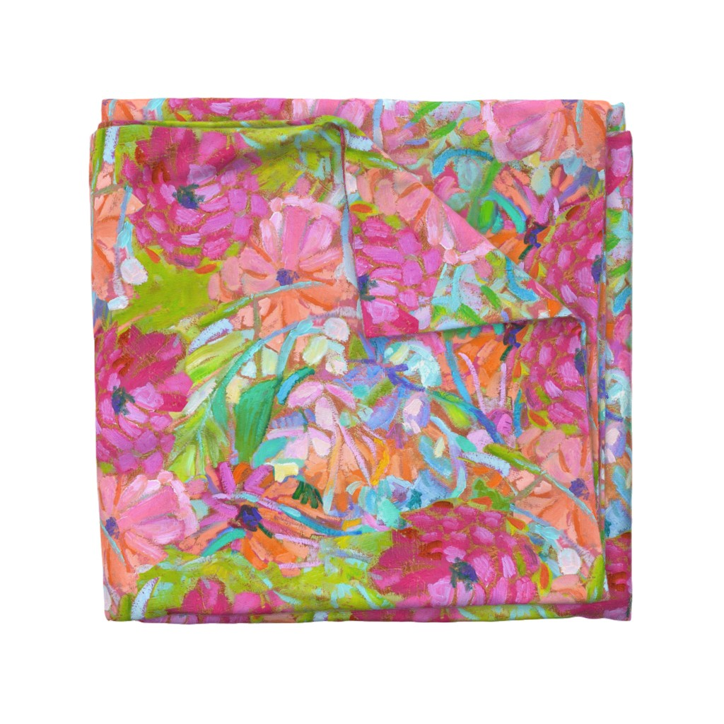 Wyandotte Duvet Cover featuring Red Coral Pink Zinnias Large Repeat by dorothyfaganartist