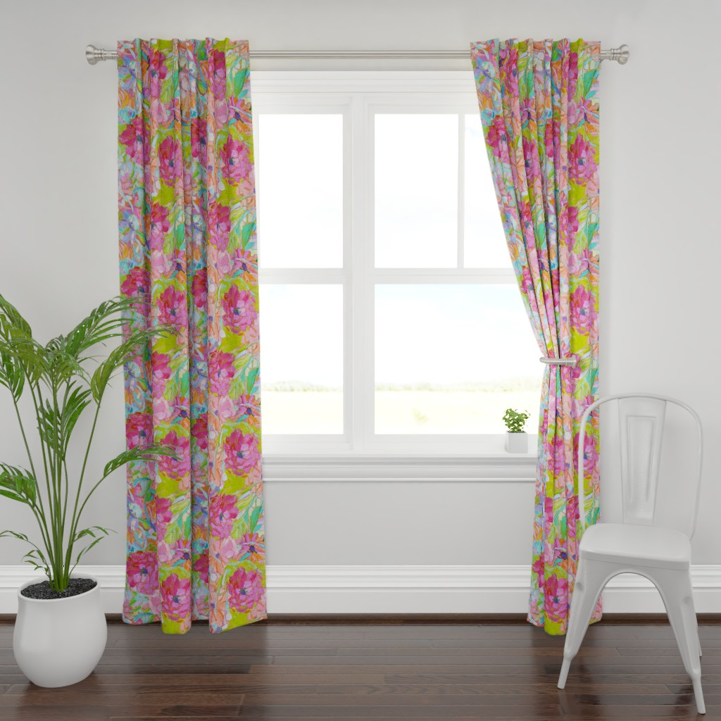 Plymouth Curtain Panel featuring Red Coral Pink Zinnias Large Repeat by dorothyfaganartist