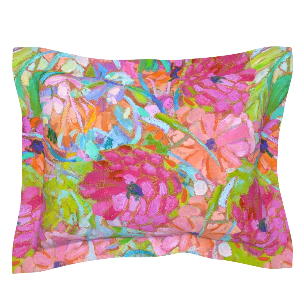 Sebright Pillow Sham featuring Red Coral Pink Zinnias Large Repeat by dorothyfaganartist