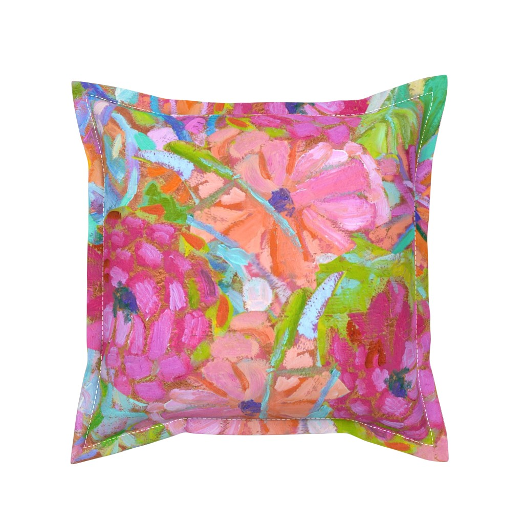 Serama Throw Pillow featuring Red Coral Pink Zinnias Large Repeat by dorothyfaganartist
