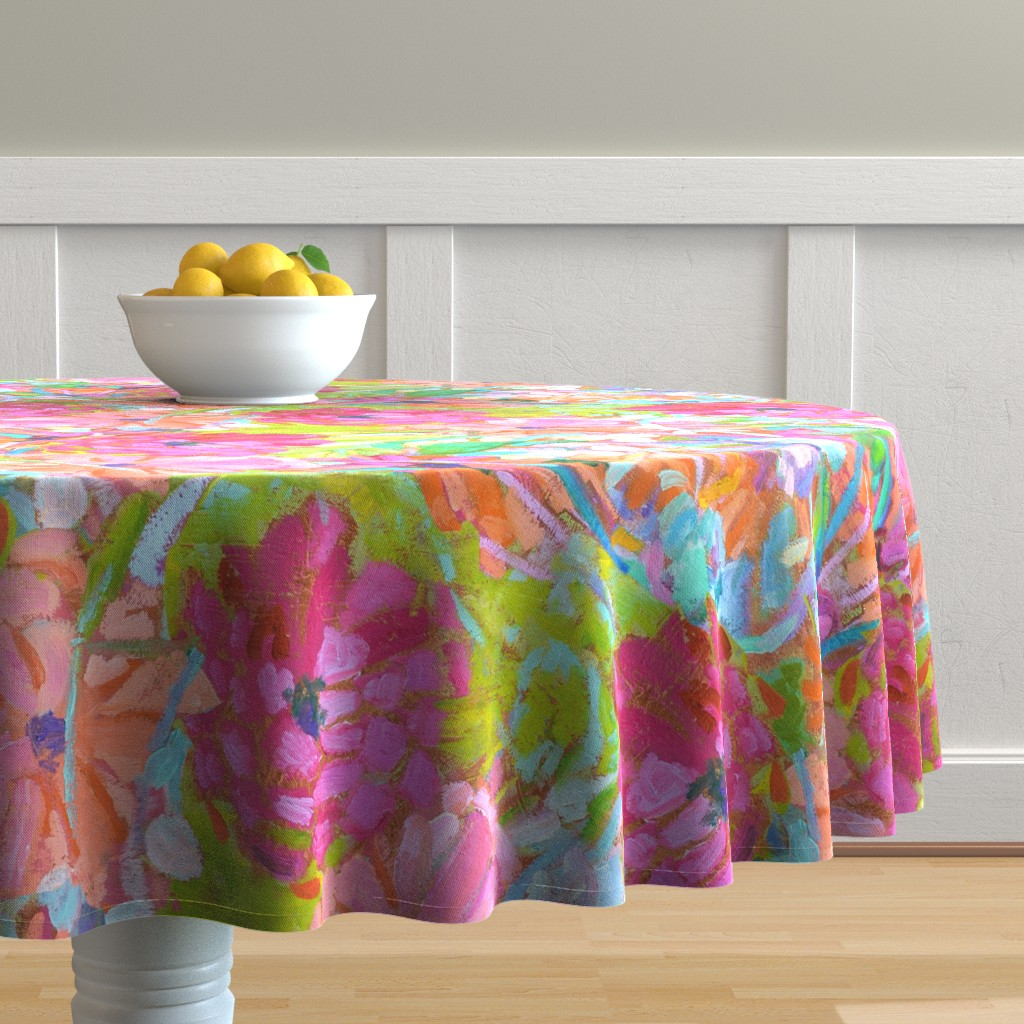 Malay Round Tablecloth featuring Red Coral Pink Zinnias Large Repeat by dorothyfaganartist