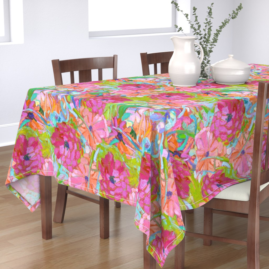 Bantam Rectangular Tablecloth featuring Red Coral Pink Zinnias Large Repeat by dorothyfaganartist