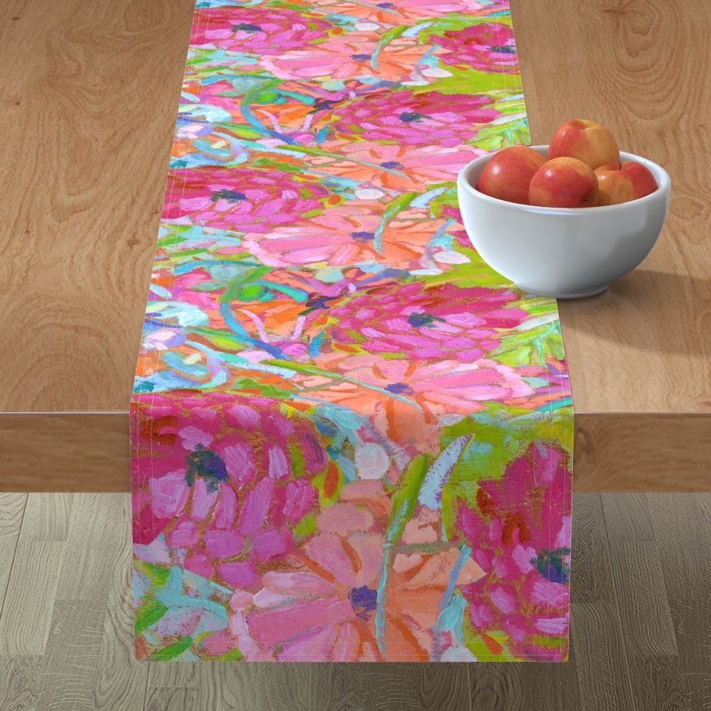 Minorca Table Runner featuring Red Coral Pink Zinnias Large Repeat by dorothyfaganartist