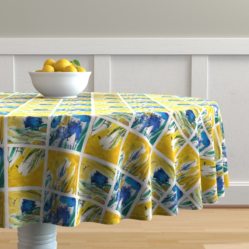 Malay Round Tablecloth featuring Italian Village Black White by dorothyfaganartist