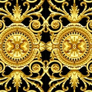 filigree baroque rococo black gold flowers floral leaves leaf ivy vines acanthus Victorian swirls ornate Versace inspired