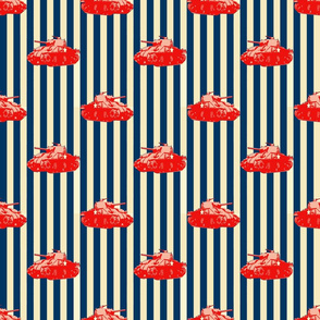 Sherman_Battle_Tank_Red_on_Navy_and_Cream