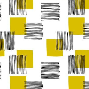 Black ink lines and square cubes modern mid century design mustard yellow