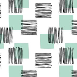 Black ink lines and square summer cubes modern mid century design pastel mint green