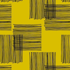 Black ink lines and square cubes modern mid century design mustard yellow wallpaper
