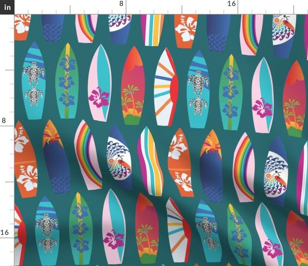 Fabric By The Yard Surf Boards On The Beach Lagoon