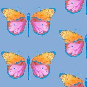 Large butterflies, colourful on payne blue grey || shirt top blouse night gown woman dress fun trendy man men girl kid women