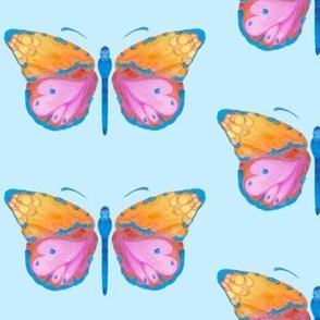 Large butterflies, colourful on very light blue || shirt top blouse night gown woman dress fun trendy man men girl kid women