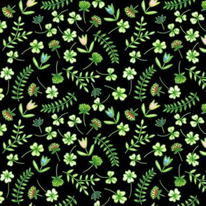 Clovers and flowers_black
