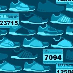 Running Shoes & Race Bibs - Blue