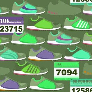 Running Shoes & Race Bibs - Olive