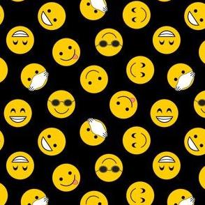 smilies on black
