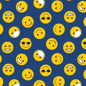 Smilies on blue