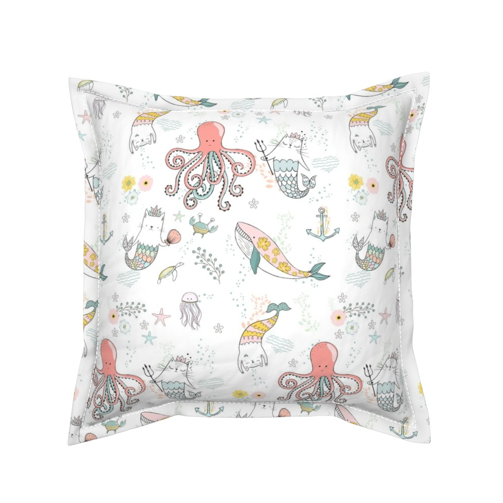 "Serama Throw Pillow featuring 10.5"" Mermaid Cat Nautical Paradise by shopcabin"