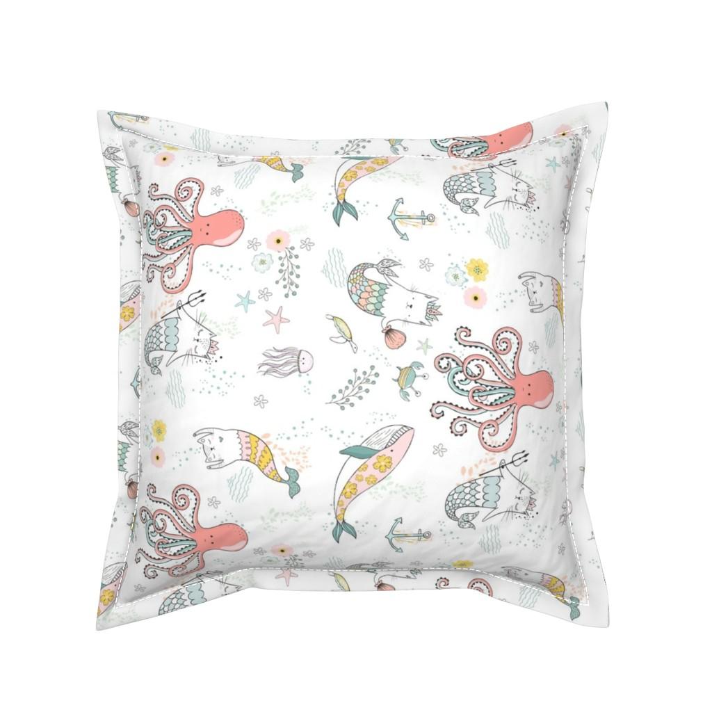 "Serama Throw Pillow featuring 10.5"" Mermaid Cat Nautical Paradise - 90 degrees by shopcabin"