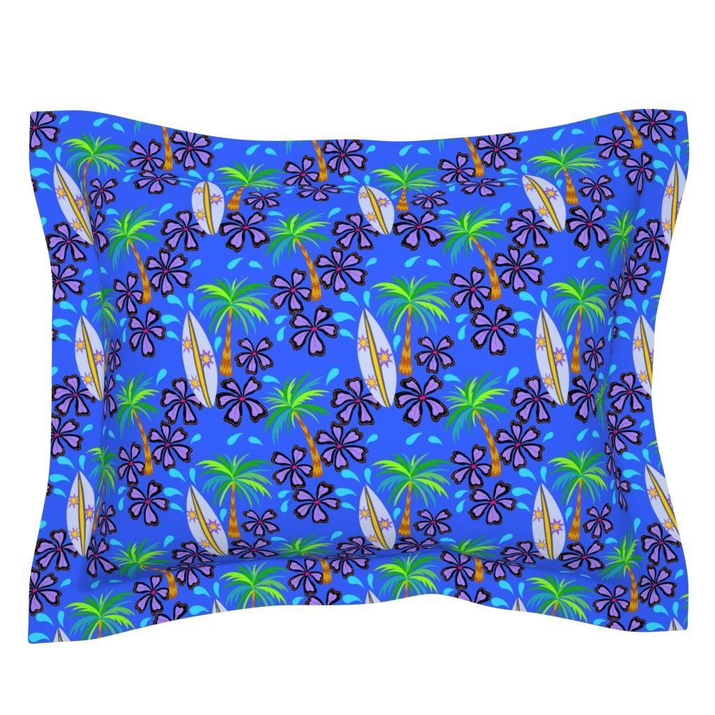 Sebright Pillow Sham featuring surfboard palm trees blue lagoon by theartofvikki
