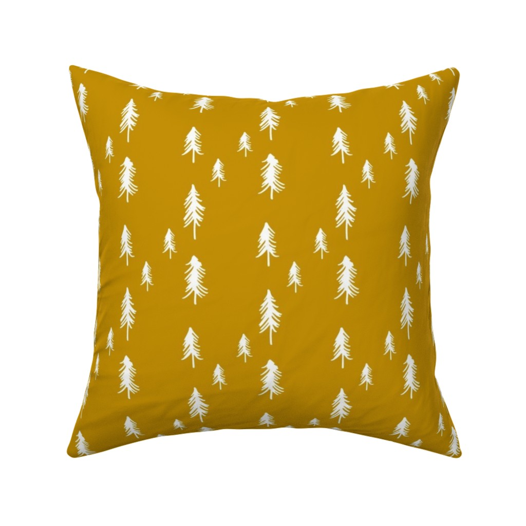 Catalan Throw Pillow featuring Pine Tree (lots) - mustard by mulberry_tree