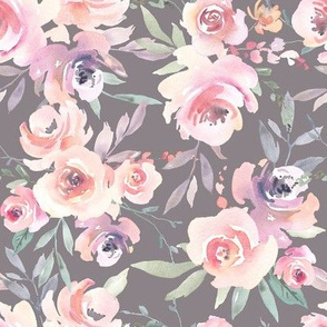 Watercolor light flowers on grey background