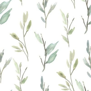 Greenery Watercolor Green Leaves Branches Bright