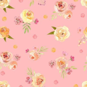 Watercolor pink yellow flowers on pink background