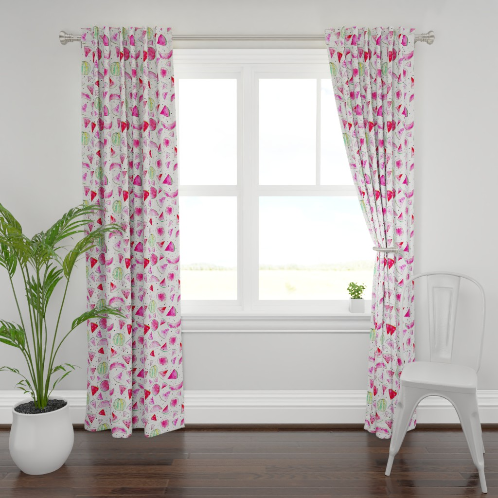 Plymouth Curtain Panel featuring Watercolor Watermelon by ms_hey_textildesign