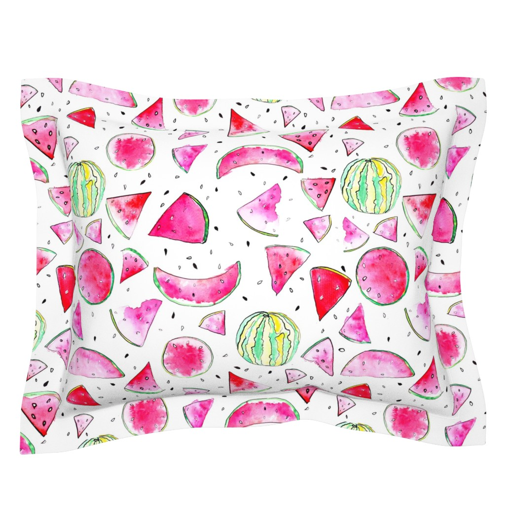 Sebright Pillow Sham featuring Watercolor Watermelon by ms_hey_textildesign