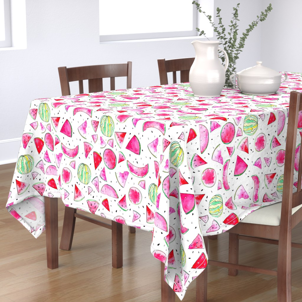 Bantam Rectangular Tablecloth featuring Watercolor Watermelon by ms_hey_textildesign
