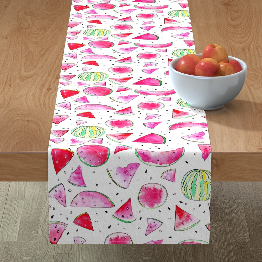 Minorca Table Runner featuring Watercolor Watermelon by ms_hey_textildesign
