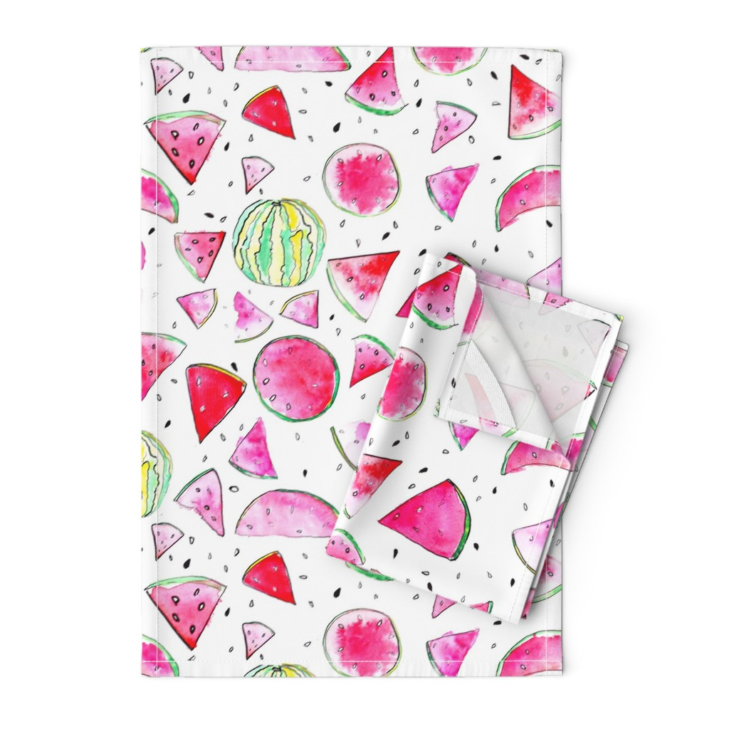 Orpington Tea Towels featuring Watercolor Watermelon by ms_hey_textildesign