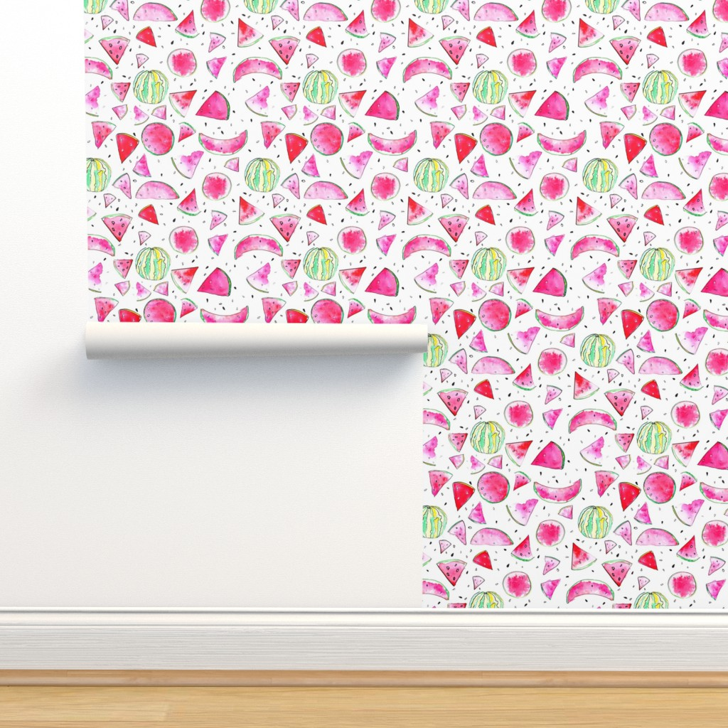 Isobar Durable Wallpaper featuring Watercolor Watermelon by ms_hey_textildesign