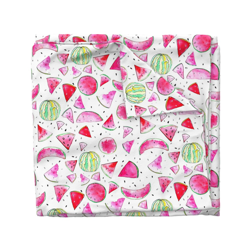 Wyandotte Duvet Cover featuring Watercolor Watermelon by ms_hey_textildesign
