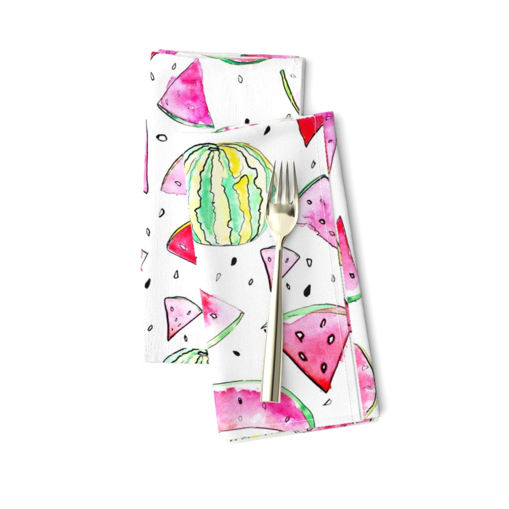 Amarela Dinner Napkins featuring Watercolor Watermelon by ms_hey_textildesign
