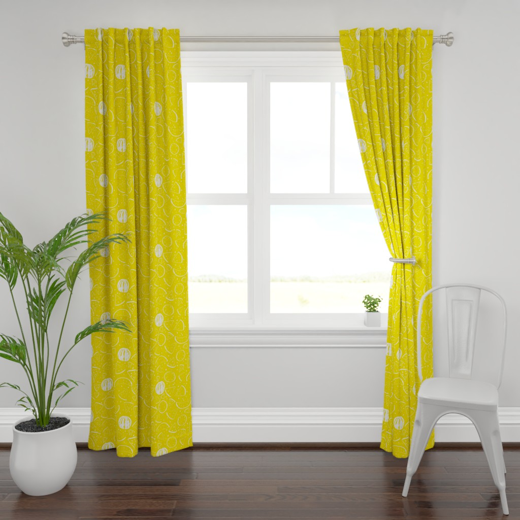 Plymouth Curtain Panel featuring Cheerful Melon Yellow by ms_hey_textildesign