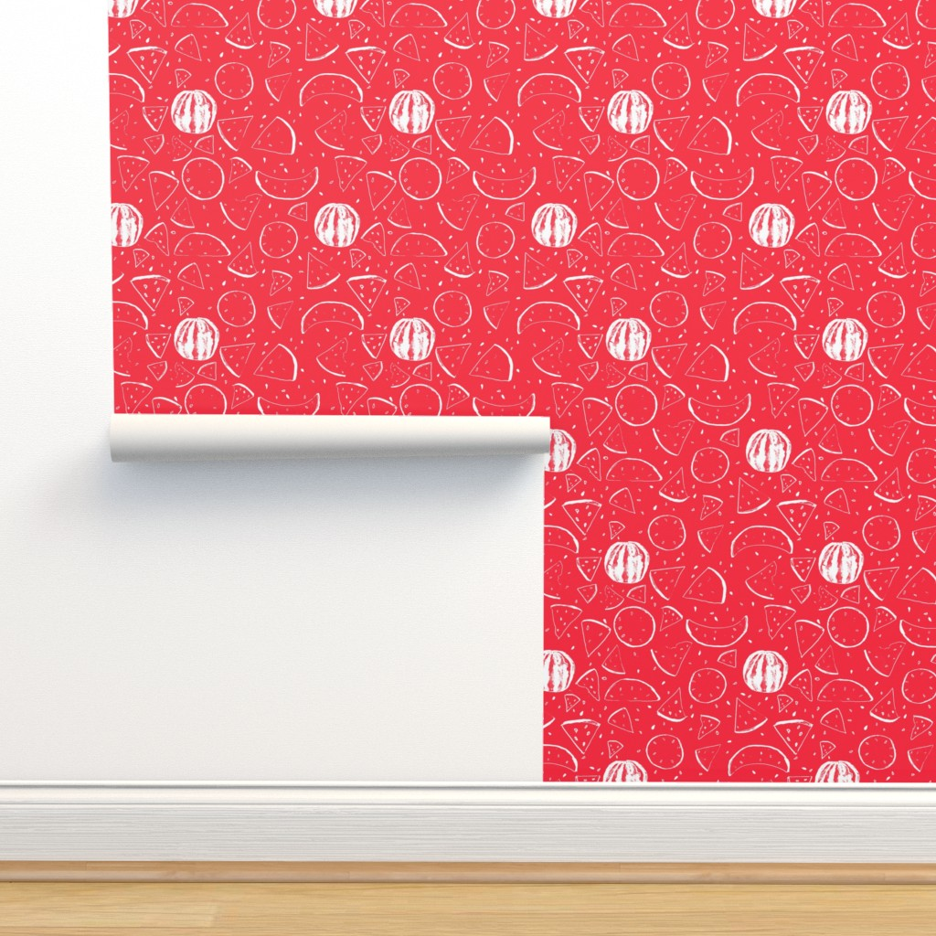 Isobar Durable Wallpaper featuring Cheerful Melon Red by ms_hey_textildesign