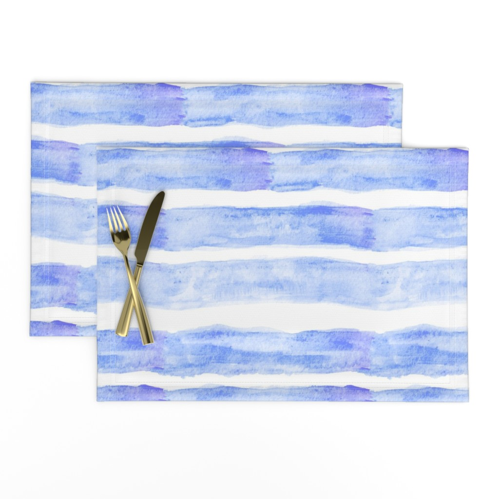 Lamona Cloth Placemats featuring Large Watercolor Stripes // Ocean Blue by theartwerks