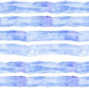 Large Watercolor Stripes // Ocean Blue