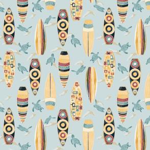 Hawaiian Rainbow Surfboards Seamless Repeating Pattern on Blue