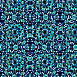 blue white circles kaleidoscope